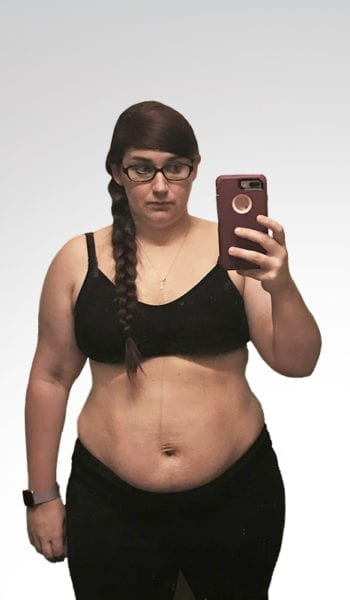 """Tonia before losing 90 lbs. and 25"""" in 48 weeks"""